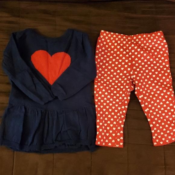 Carter/'s Carters Girls Size NB Newborn 2 Tops Shirt Heart Pants NWT 3 Piece Set
